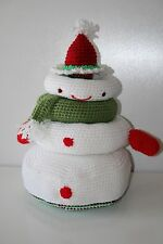 "Baby Snowman Santa Stacking Rings Toy Crocheted Holiday Plush Handmade 13"" Tall"