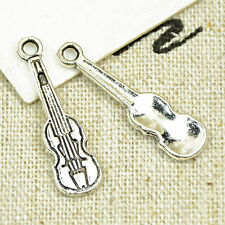 30pc Tibetan Silver Violin Pendant Charms Beads Jewellery Accessories PY671