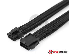 8 Pin PCIE GPU 30cm Extension Black Sleeved Extension Shakmods  + 2 Cable Combs