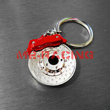 Red Caliper Metal Drilled Disc Brake Keychain Keyring chrome finish Racing Part