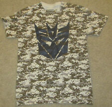 TRANSFORMERS MENS T-SHIRTS LARGE LOGO MOVIE DECEPTICONS DIGITAL CAMO 42/44 BROWN