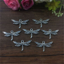 Wholesale 6pcs Tibet silver Dragonfly Charm Pendant beaded Jewelry Findings DIY