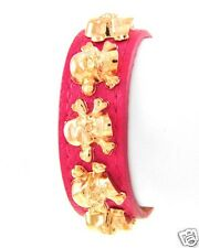 Hot Trend Fuchsia Pink Faux Leather Gold Skull Rock Star Bracelet Punk Jewelry