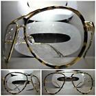 CLASSIC VINTAGE RETRO AVIATOR Style Clear Lens EYE GLASSES Tortoise & Gold Frame