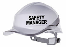 2X SAFETY MANAGER Hard Hat vinyl decal. Sticker transfer CUSTOM COLOUR & FONT