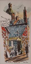 Quebec Canada Painting Watercolor Pen & Ink 1969 Street Scene Signed 03081