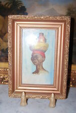 WONDERFUL VICTORIAN GOLD FRAME WITH A WATERCOLOR OF A COLORED LADY WITH A BASKET
