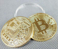 BTC NEW 1 OZ 24K FINE GOLD PLATED BTC BITCOIN COMMEMORATIVE COIN-B1066