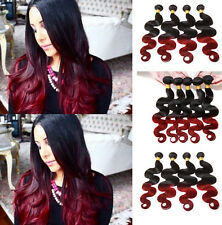 50g/Bundle 1B BURG# Red Ombre Body Wave 100% Real Human Hair Extension Wefts