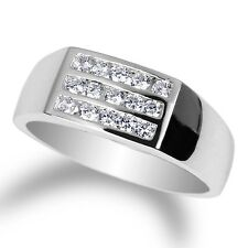 Mens 925 Sterling Silver Ring with White Gold Plating Round CZ stones size 8-12