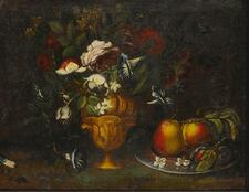 AMERICAN SCHOOL, 19TH CENTURY | With Pears and Flowers: Still Life