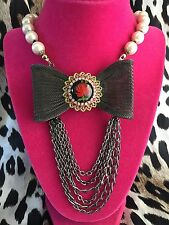 Betsey Johnson Vintage HUGE Lucite Rose Carving Pewter Mesh Bow Pearl Necklace