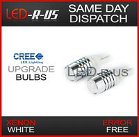 2 x 5W CREE LED Light Bulbs Capless 501 W5W Car Front Sidelight 12v T10 WHITE