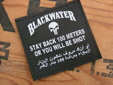 "Patch Velcro "" STAY BACK 100 meters BLACKWATER "" Noir MERCENAIRE mercenary US"
