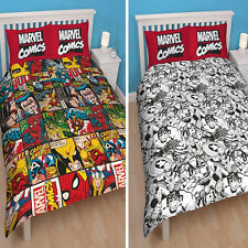 MARVEL COMICS 'Defenders' DOUBLE DUVET COVER SET REVERSIBLE OFFICIAL Bedding