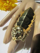 New Women Ring Shiny Gold Metal Plates Lion Head Huge Fancy Fashion One Size