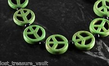 Green Dyed Howlite Peace Symbol Bracelet Adjustable Jewelry
