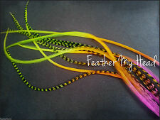 Feather Hair Extensions Multi Color Neon Rainbow Tye Dye Extra Long 10 Pc Set