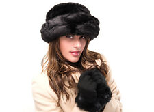 Ladies Black Faux Fur Fashion Hat and Glove Set Geneva