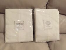 "2 Restoration Hardware Stonewashed Cotton Linen Drapes Drapery 100X84"" White"