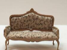 Dollhouse Miniature Victorian Love Seat Natural Wood Floral Carved Uph. 1:12 New