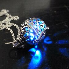 Steampunk FIRE necklace - pendant charm locket jewelry- GREAT GIFT-silver Blue