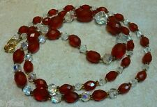 Redesigned Jeweler's Approach to Faceted Cranberry Amber & Antique Crystal Beads