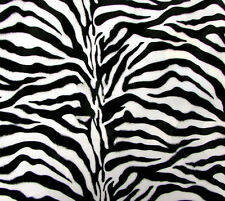 VELBOA FAUX FUR ZEBRA ANIMAL PRINT FABRIC BLACK/WHITE SEWING POLY BY THE YARD