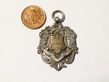 Antique Solid Silver and Gold Fob MEDAL , 9th August 1902 Initials JHJ Hallmark