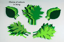 24 x Die Cut Felt Leaves Green Trimmings Toppers Scrapbooking Embellishments