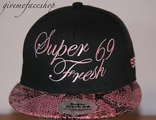 Super Fresh snakeskin Snapback, black hip flat peak fitted hats bling/baseball