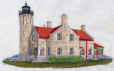Old Mackinac Point Lighthouse EMBROIDERED SET OF 2 BATHROOM TOWELS BY LAURA