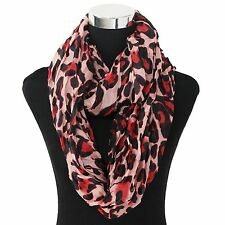"NEW WOMEN'S FASHION STYLISH LEOPARD PRINT RED PINK INFINITY LOOP SCARF 37"" X 70"""