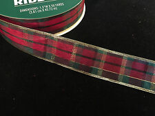 "50 Yards! Christmas Plaid w/ gold Wired Ribbon  1.5"" Wide Wholesale  Bulk"