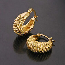 "Awesome 9K Yellow Gold Filled ""Caterpillar"" Hoop Earrings - Nickel & Lead Free"