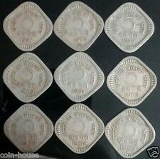 1957 - 1965, Five Paise and Five Naye Paise Collection of 9 Copper Nickel Coins