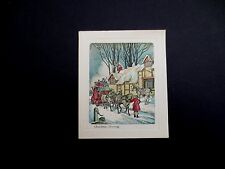 """#L77- Vintage Unused 1940's Glittered Xmas Greeting Card """"Christmas Journey"""""""