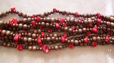 "54"" Long Strand Red Bamboo Coral Nugget & Wood Round Beads 7mm-13mm Necklace"
