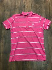 Homme rose à rayures blanche sergio tacchini polo rétro t-shirt-taille s