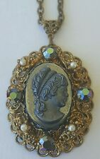 """Western Germany Victorian Style Costume Jewelry Necklace Broach Pendant 24"""""""