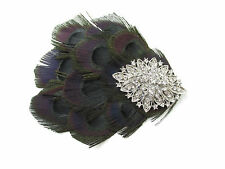Black & Silver Diamante Peacock Feather Fascinator Hair Clip Vintage 1920s W79