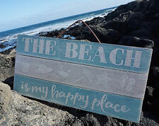 THE BEACH IS MY HAPPY PLACE Starfish Crab Blue Wood Plank Home Decor Sign NEW