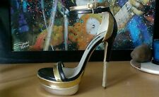 "Ruthie Davis ""West Palm"" Womens 7.5 Gold/Silver Platform Heels  New/Display"