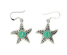 STERLING SILVER ONE SIDED TURQUOISE CENTERED STARFISH DANGLING EARRINGS