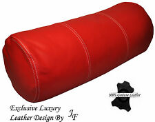 "EXCLUSIVE LUXURY GENUINE RED LEATHER ROUND CUSHION BOLSTER ROLL 9"" x 24"""