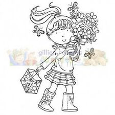 NEW Stampavie Gillian Roberts Clear Stamp Flower Girl