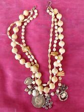 STUNNING CHAN LUU MOTHER OF PEARL, BONE BEADS & STERLING SILVER CHARM NECKLACE