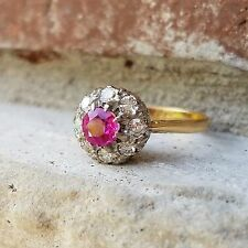 Art Deco Ruby Diamond Halo Ballerina Engagement Estate Ring in 18k Gold Size 5.5