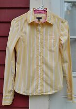 American Eagle Favorite Fit Yellow/White Stripe Long Sleeve Button Shirt Size 4