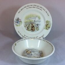 Wedgwood F Warne Beatrix Potter Mrs. Tiggy-winkle Bowl & Plate Set - Good Cond.